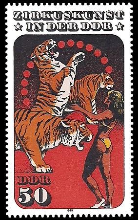 50 Pf Briefmarke: Zirkuskunst in der DDR, Tiger