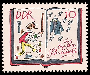10 Pf Briefmarke: 200. Geburtstag J. u. W. Grimm, Das tapfere Schneiderlein