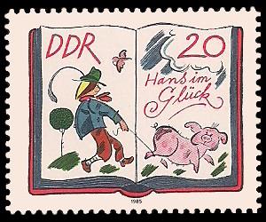 20 Pf Briefmarke: 200. Geburtstag Jacob und Wilhelm Grimm, Hans im Glück
