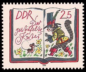 25 Pf Briefmarke: 200. Geburtstag J. und W. Grimm, Der gestiefelte Kater