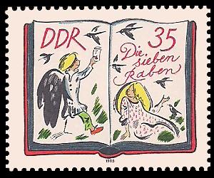 35 Pf Briefmarke: 200. Geburtstag J. und W. Grimm, Die sieben Raben