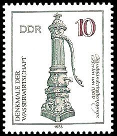 10 Pf Briefmarke: Denkmale der Wasserwirtschaft, Handständerkolbenpumpe