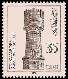 35 Pf Briefmarke: Denkmale der Wasserwirtschaft, Wasserturm Bln-Altglienicke