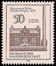 50 Pf Briefmarke: Denkmale der Wasserwirtschaft, Wasserwerk Bln-Friedrichshagen