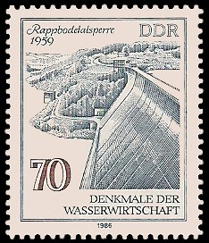 70 Pf Briefmarke: Denkmale der Wasserwirtschaft, Rappbodetalsperre