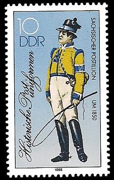 10 Pf Briefmarke: Historische Postuniformen, Sächsischer Postillion