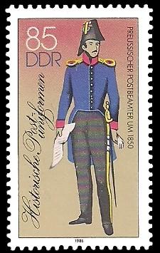 85 Pf Briefmarke: Historische Postuniformen, Preussischer Postbeamter
