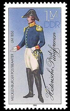 1 M Briefmarke: Historische Postuniformen, Mecklenburger Postbeamter