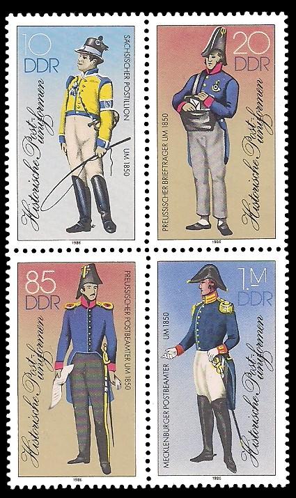 Briefmarke: Viererblock - Historische Postuniformen