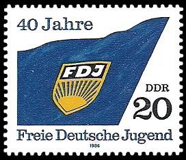 20 Pf Briefmarke: 40 Jahre Freie Deutsche Jugend
