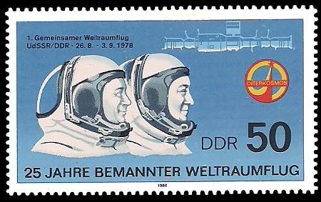 50 Pf Briefmarke: 25 Jahre bemannter Weltraumflug, Bykowski und Jähn