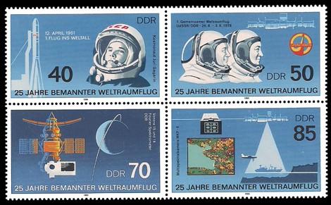 Briefmarke: Viererblock - 25 Jahre bemannter Weltraumflug