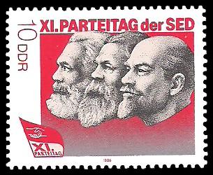 10 Pf Briefmarke: XI. Parteitag der SED - Marx, Engels u Lenin
