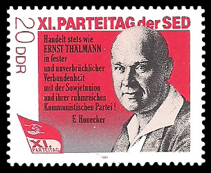 20 Pf Briefmarke: XI. Parteitag der SED - Ernst Thälmann
