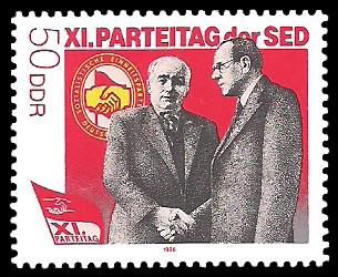 50 Pf Briefmarke: XI. Parteitag der SED - W.Pieck u O.Grotewohl