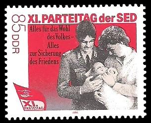 85 Pf Briefmarke: XI. Parteitag der SED - Familie mit Kind