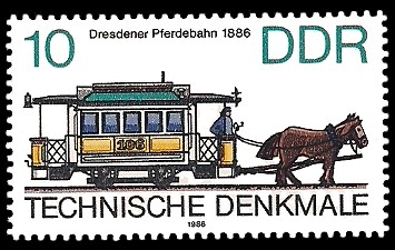 10 Pf Briefmarke: Technische Denkmale - Straßenbahnen, Dresdener Pferdebahn