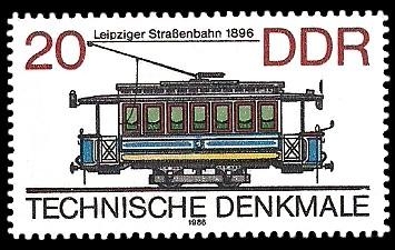 20 Pf Briefmarke: Technische Denkmale - Straßenbahnen, Leipziger Straßenbahn