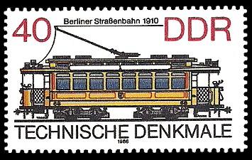 40 Pf Briefmarke: Technische Denkmale - Straßenbahnen, Berliner Straßenbahn