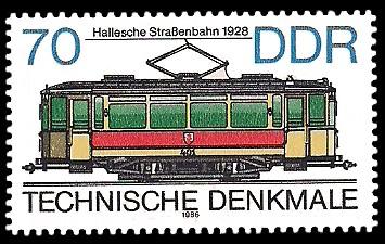 70 Pf Briefmarke: Technische Denkmale - Straßenbahnen, Hallesche Straßenbahn