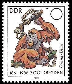 10 Pf Briefmarke: 125 Jahre Zoo Dresden, Orang-Utan