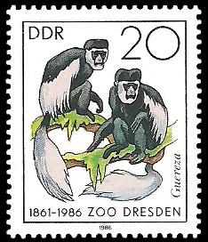 20 Pf Briefmarke: 125 Jahre Zoo Dresden, Guereza