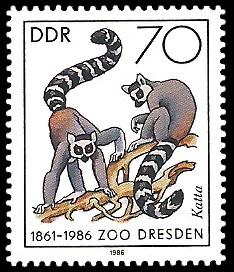 70 Pf Briefmarke: 125 Jahre Zoo Dresden, Katta