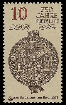 10 Pf Briefmarke: 750 Jahre Berlin, Ältestes Stadtsiegel