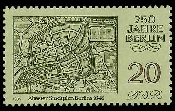 20 Pf Briefmarke: 750 Jahre Berlin, Ältester Stadtplan