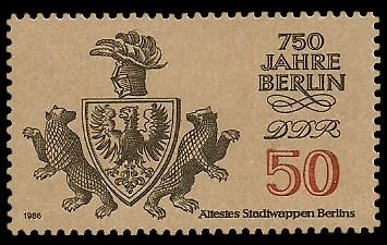50 Pf Briefmarke: 750 Jahre Berlin, Ältestes Stadtwappen