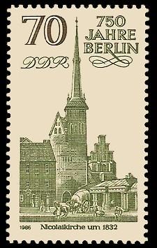 70 Pf Briefmarke: 750 Jahre Berlin, Nicolaikirche