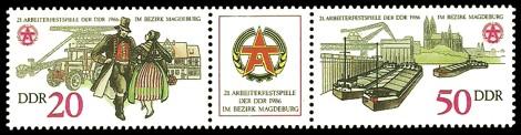 Briefmarke: Dreierstreifen - 21. Arbeiterfestspiele der DDR