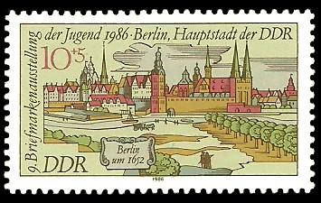 10 + 5 Pf Briefmarke: 9. Briefmarkenausstellung der Jugend, Berlin um 1652