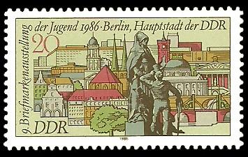 20 Pf Briefmarke: 9. Briefmarkenausstellung der Jugend, Gebäude in Berlin von 1986
