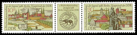 Briefmarke: Dreierstreifen - 9. Briefmarkenausstellung der Jugend