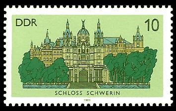 10 Pf Briefmarke: Schlösser der DDR, Schloss Schwerin