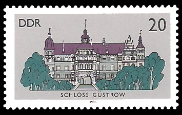 20 Pf Briefmarke: Schlösser der DDR, Schloss Güstrow