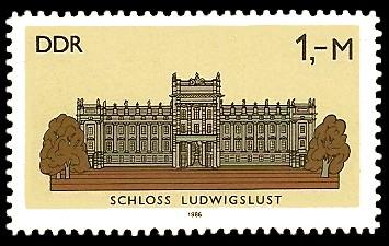 1 M Briefmarke: Schlösser der DDR, Schloss Ludwigslust