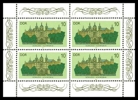 4 x 10 Pf Briefmarke: Kleinbogen - Schlösser der DDR, Schloss Schwerin