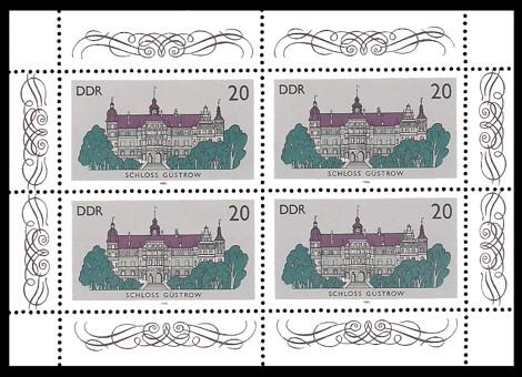 4 x 20 Pf Briefmarke: Kleinbogen - Schlösser der DDR, Schloss Güstrow