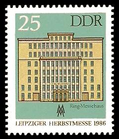 25 Pf Briefmarke: Leipziger Herbstmesse 1986, Ring-Messehaus