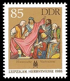 85 Pf Briefmarke: Leipziger Herbstmesse 1986, Historische Marktszene