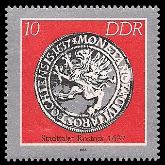 10 Pf Briefmarke: Historische Münzen, Stadttaler Rostock