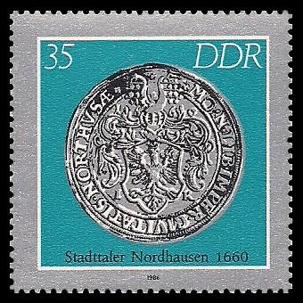 35 Pf Briefmarke: Historische Münzen, Stadttaler Nordhausen