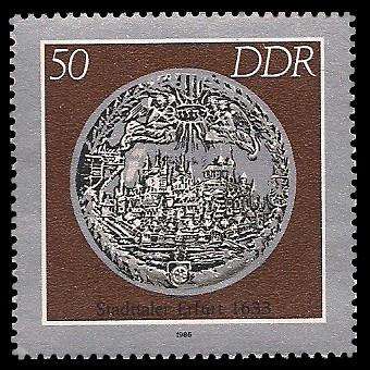 50 Pf Briefmarke: Historische Münzen, Stadttaler Erfurt
