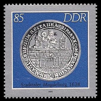 85 Pf Briefmarke: Historische Münzen, Stadttaler Magdeburg