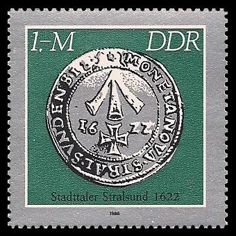 1 M Briefmarke: Historische Münzen, Stadttaler Stralsund
