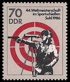 70 Pf Briefmarke: 44. Weltmeisterschaft im Sportschießen, Pistolenschießen