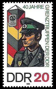 20 Pf Briefmarke: 40 Jahre Grenztruppen der DDR