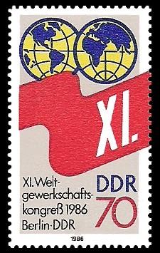 70 Pf Briefmarke: XI. Weltgewerkschaftskongress